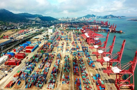 """Containers are seen at a port in Lianyungang in China's eastern Jiangsu province on July 13, 2018. - China's surplus with the United States hit a record last month, data showed on July 13, adding to brewing tensions between the economic superpowers as they stand on the brink of an all-out trade war that Beijing warned would have a """"negative impact"""" globally. (Photo by STR / AFP) / China OUT (Photo credit should read STR/AFP/Getty Images)"""