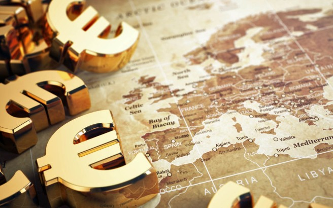 Euro sign on the world map background with DOF effect. 3d